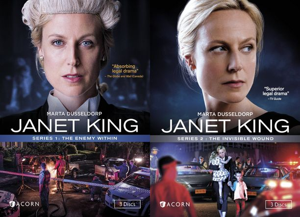 JANET KING SERIES 1 & 2.  Janet King, a senior crown prosecutor, returns to work after maternity leave to find her workplace even more demanding than when she left. She quickly becomes involved in a high-profile and controversial case, and makes several enemies in her search for the truth.  http://ccsp.ent.sirsi.net/client/en_US/hppl/search/results?qu=janet+king+Dusseldorp&te=&lm=HPLIBRARY&dt=list