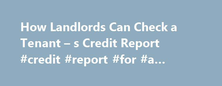 How Landlords Can Check a Tenant – s Credit Report #credit #report #for #a #business http://sudan.nef2.com/how-landlords-can-check-a-tenant-s-credit-report-credit-report-for-a-business/  # How Landlords Can Check a Tenant s Credit Report Private credit reporting agencies collect and sell credit files and other information about consumers. Many landlords find it essential to check a prospective tenant s credit history with at least one credit reporting agency to see how responsible the person…