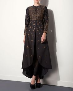 Black Anarkali Set with Embroidered Yoke by AM:PM Indian Ethnic Wear, Designer Style, India Designs, Indian Salwar Suits, Embroidery of India, Autumn/Winter 2015 Collection, Ankur Modi & Priyanka Modi, Anarkali Fashion Trend
