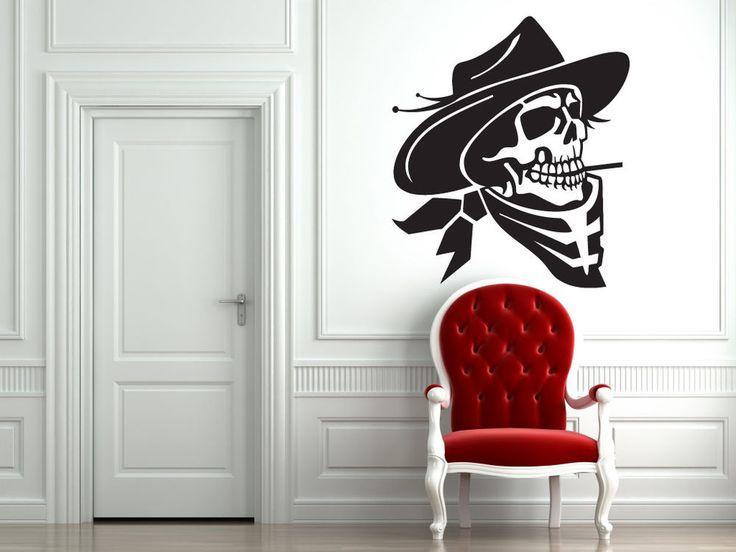 Cowboys Skull Sticker Wall Vinyl Skull Cowboys Hat Mural Decal Decor Gift #243 #HomeOfStickers