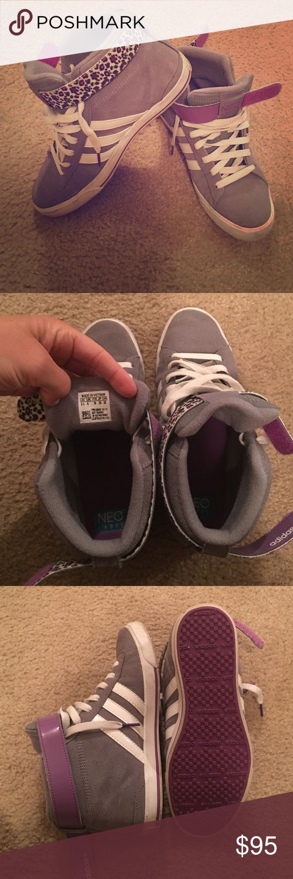 Adidas grey/white high tops - sz 6.5 Adidas NEO high tops - suede outside - gently used - still in very good condition! Adidas Shoes Athletic Shoes