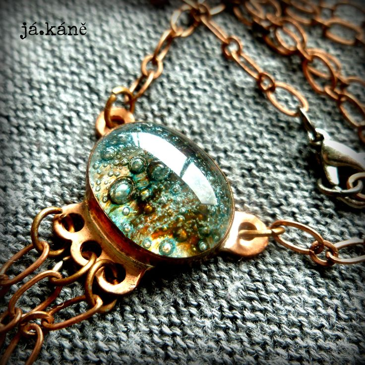 copper pendant necklace hand made glass kaboshon rustic necklace by jakanestudio on Etsy