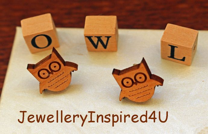 Wooden Owl Small Statement Earrings  Sterling Silver Butterfly Stud Posts. Natural Alder Wood Earrings. Bird Earrings. Owl Face Earrings by JewelleryInspired4U, $15.00  USD https://jewelleryinspired4u.zibbet.com/
