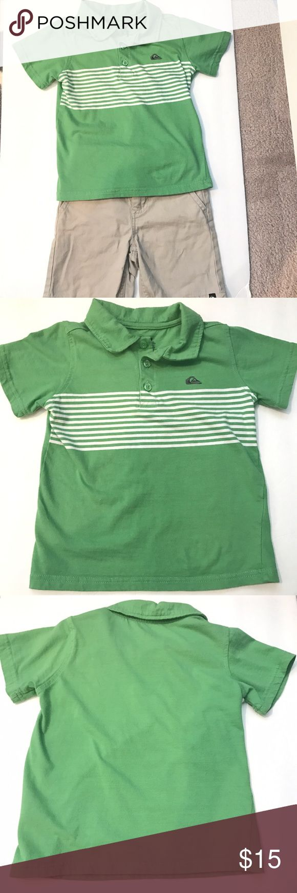 Quiksilver shorts & polo shirt • size 4T Quiksilver shorts & polo shirt • size 4T • green polo shirt • adjustable beige shorts • slight stain on shorts (see pic) • pet free • nonsmoking home Quiksilver Shirts & Tops Polos