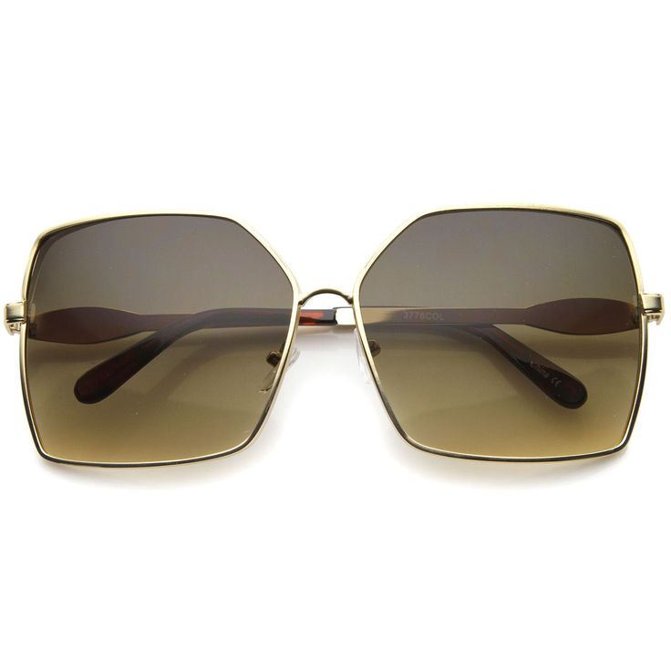 Womens Metal Square Sunglasses With UV400 Protected Gradient Lens