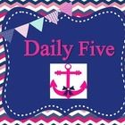 This is a cute pink and blue nautical themed set of Daily Five Posters.  Daily Five is program to help you manage stations by The Two Sisters.  Tha...
