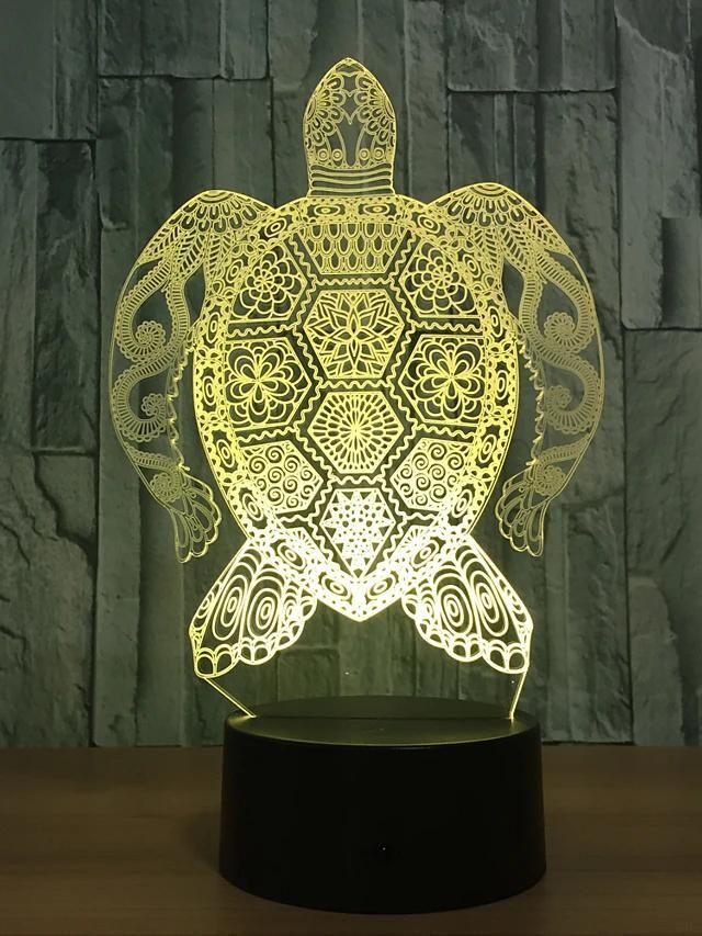 Boho Design Sea Turtle 3d Led Color Changing Night Light Usb Lamp 3d Illusion Lamp 3d Optical Illusions