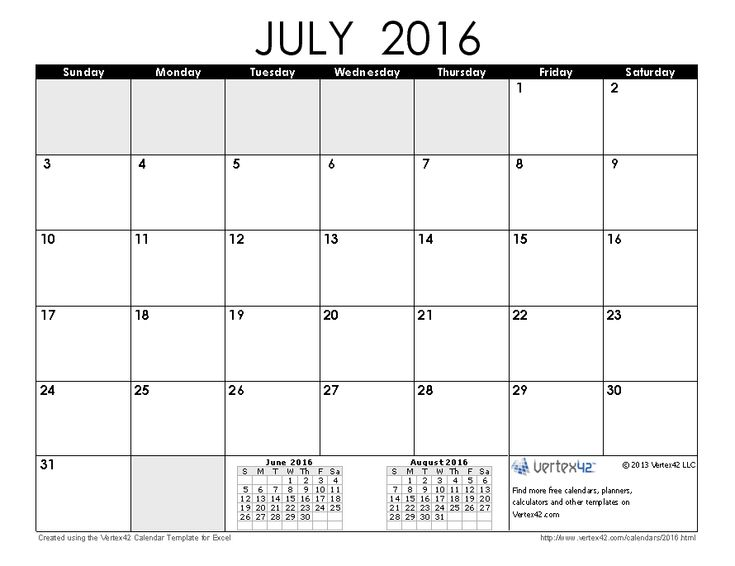 Download a free July 2016 Calendar from Vertex42.com