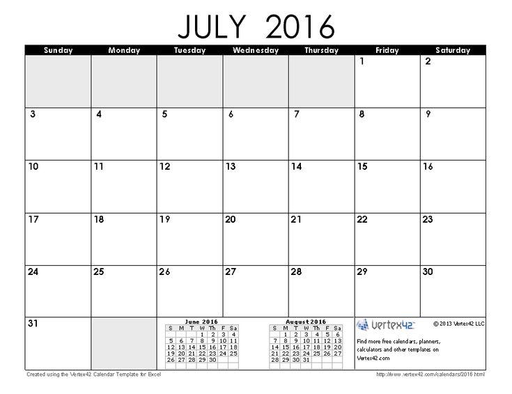 Best 25+ July 2016 calendar template ideas on Pinterest July - sample academic calendar