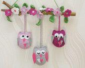 crochet little owls - cute baby room decor.  Please visit my Etsy shop: https://www.etsy.com/shop/DecorAnna