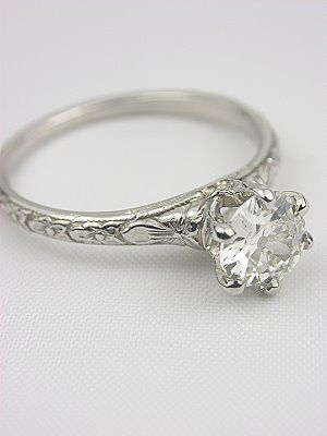 Orange Blossom Antique Engagement Ring, RG-2744 the design on the band is beautiful
