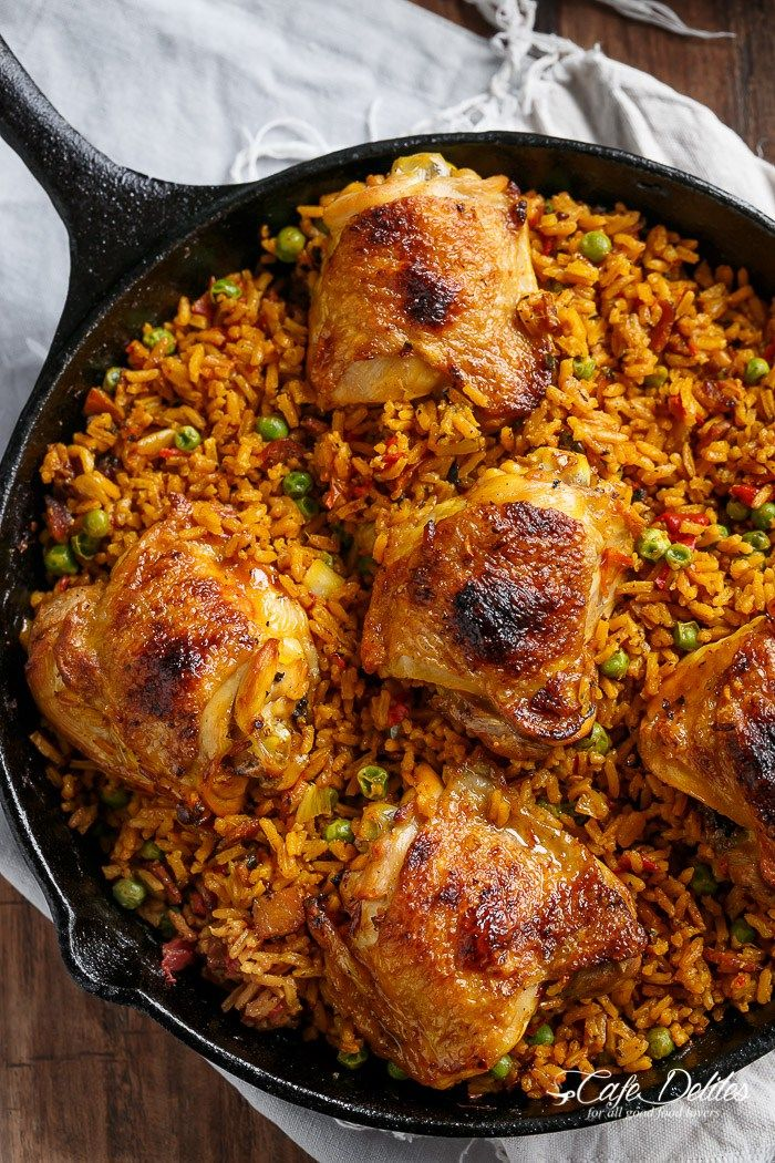 One Pan Crispy Spanish Chicken and Rice (Arroz Con Pollo) | http://cafedelites.com