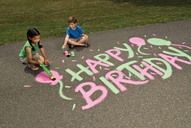 рисунки на асфальте поздравления с днем рождения