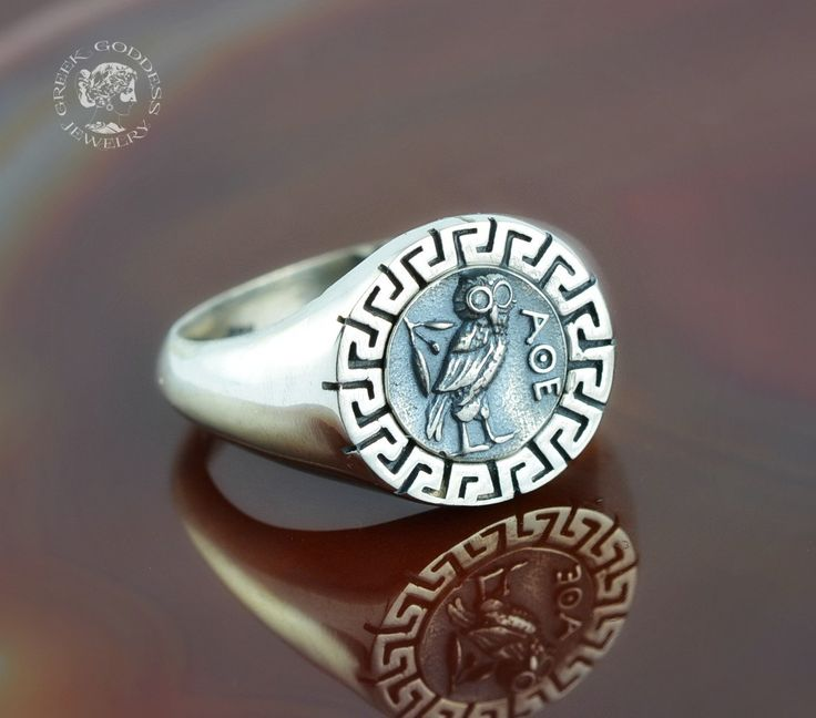 owl greek key silver ring, owl ring, owl, silver owl, greek key ring, ancient coin ring, greek jewelry, antique ring, ancient ring by GreekGoddessJewelry on Etsy