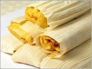 Tamales: Southwestern Cooking Recipes from New Mexico.  Red sauce and green sauce, pork tamales.