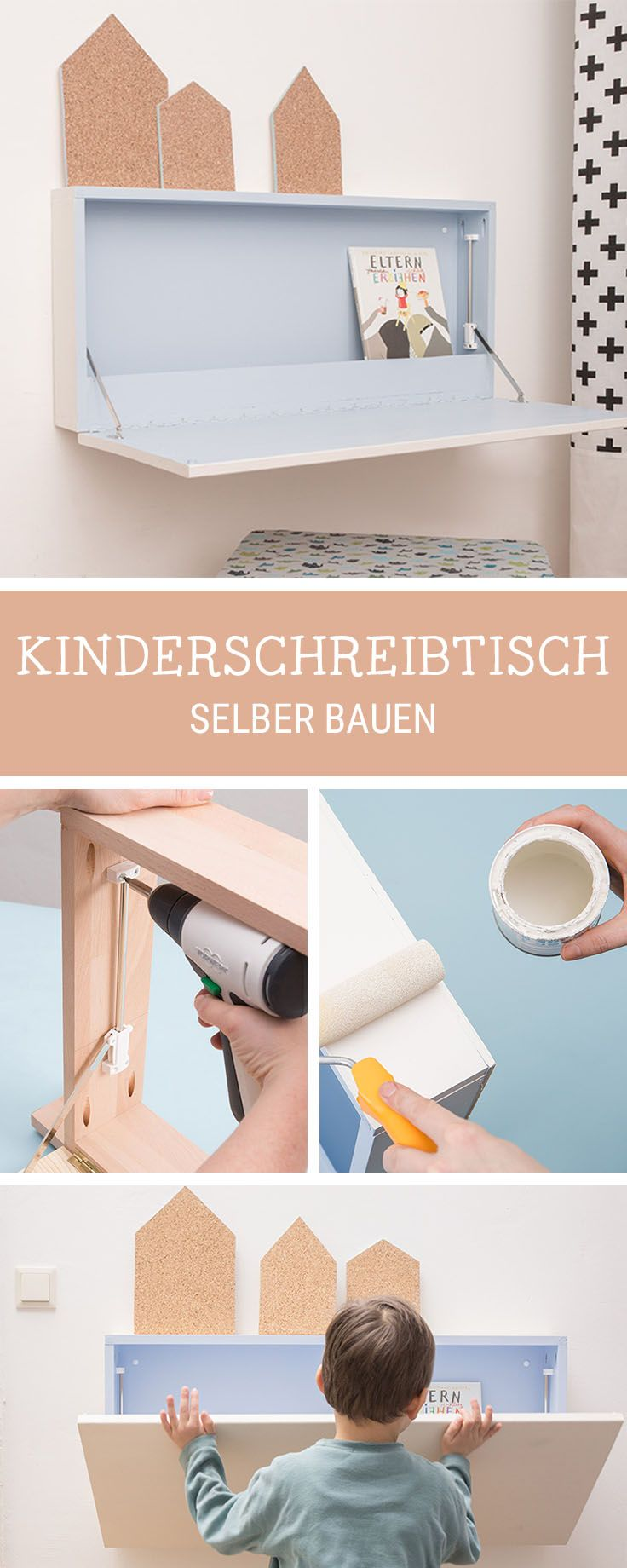 Möbel-DIY fürs Kinderzimmer: Klappbaren Schreibtisch bauen / workspace diy: how to craft a working desk for children via DaWanda.com