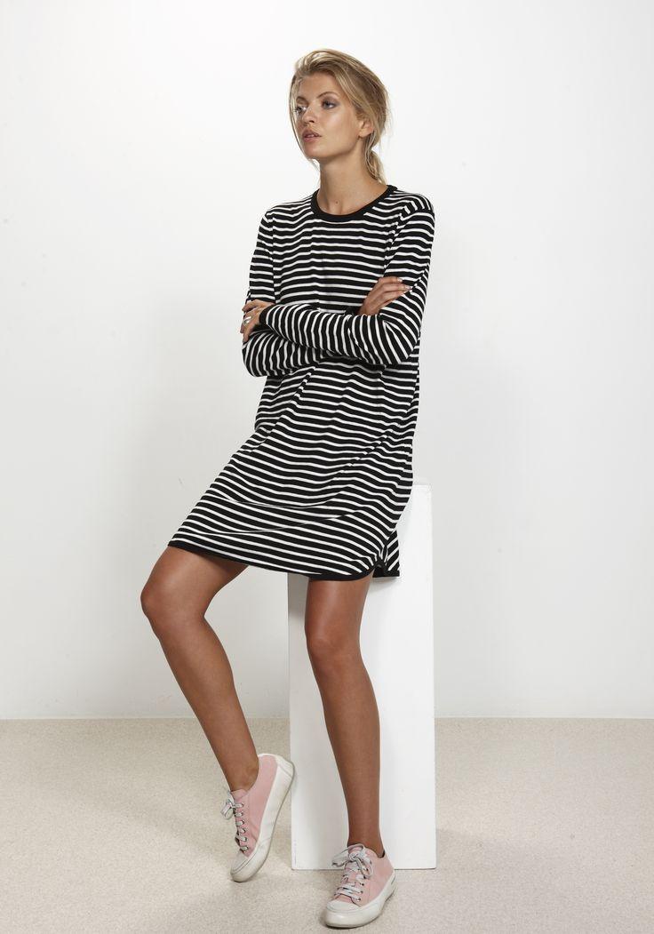Salty STripe Dress - Black & White 100% cotton http://www.nineteen46.co.nz