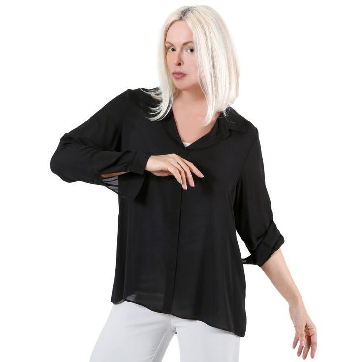 VENER Ζορζέτα πουκαμίσα, μανίκι που γυρίζει