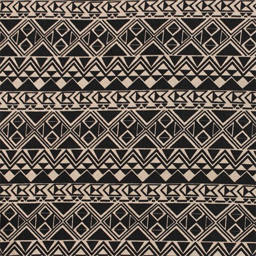 Black Taupe Arrow Triangle Rows Cotton Spandex Knit Fabric - A super soft cotton jersey with spandex knit in an on trend ethnic arrows and triangles design in taupe brown and black.  Fabric is light to medium weight with a smooth hand and great 4 way stretch.  Row design has a 4 1/2 cm repeat.  ::  £7.96