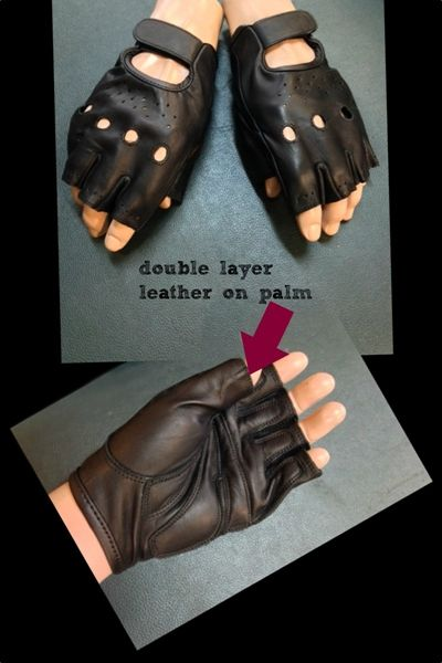 Leather strap with hidden velcro to get in and out of the gloves