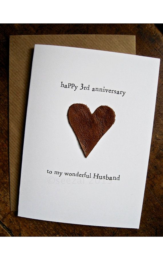 3rd wedding anniversary card husband traditional gift leather handmade keepsake 3 years beige brown leather size a6 15x105cm