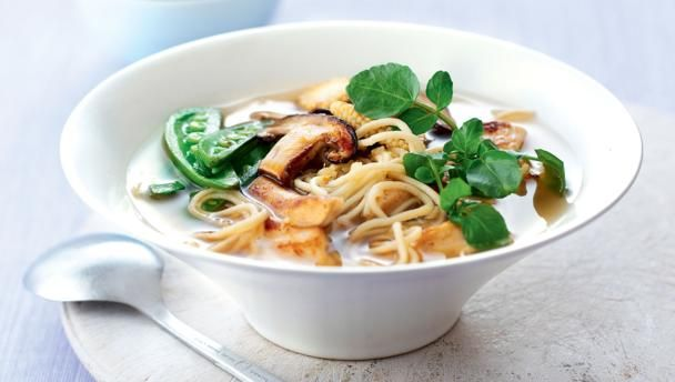 Chicken noodle miso soup        Everybody loves a warming bowl of chicken soup. This soup flavoured with miso is perfect for a light healthy lunch. This meal is low calorie and provides 331 kcal, 26g protein, 42g carbohydrate (of which 3.3g sugars), 6.7g fat (of which 1.5g saturates), 4g fibre and 1.4g salt per portion.