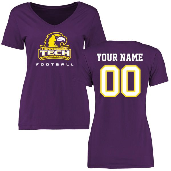 Tennessee Tech Golden Eagles Women's Personalized Football Slim Fit T-Shirt - Purple - $37.99