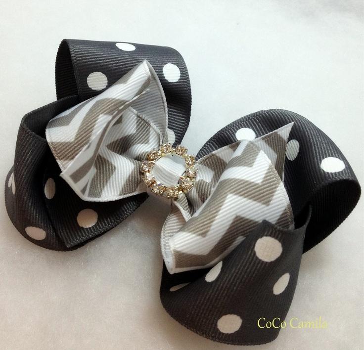 Chevron and Polka dot boutique hair bow clip girl grey