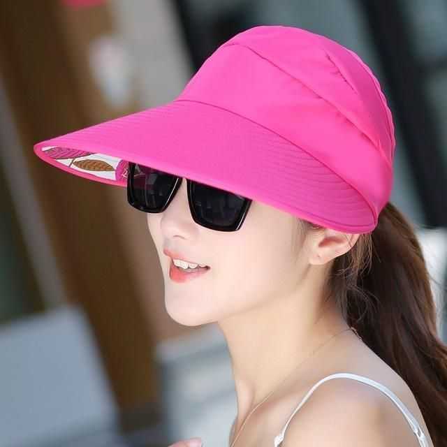 4fcc52d3d1a7d Hot Sun Hats Visor Hat for Women With Big Heads Beach Hats Summer UV  Protection