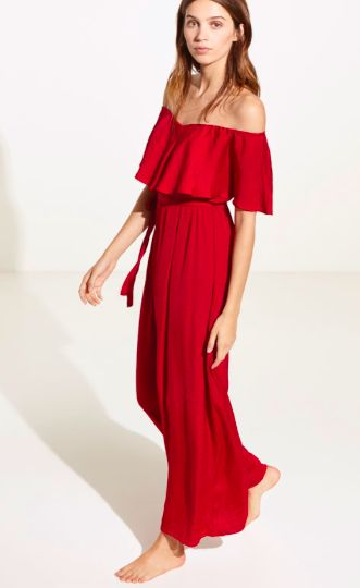 Oysho summer 2017 red satin-ish dress, absolute adore.