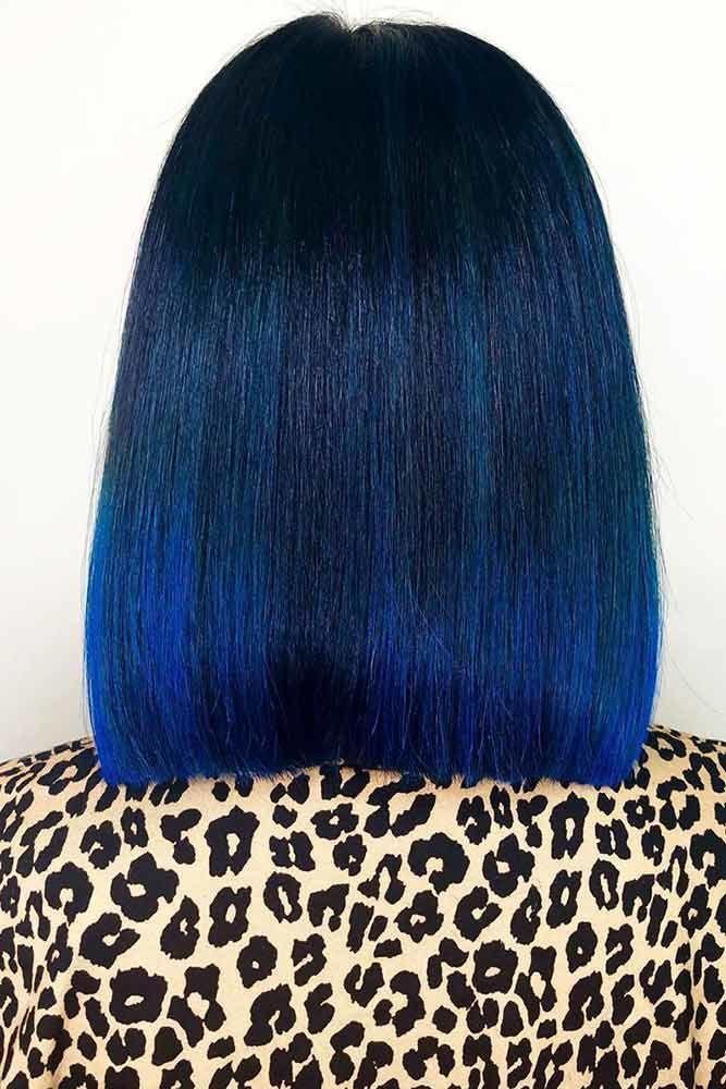 Blue Black With Teal Tones Blunt Blueblackhair Darkbluehair Want