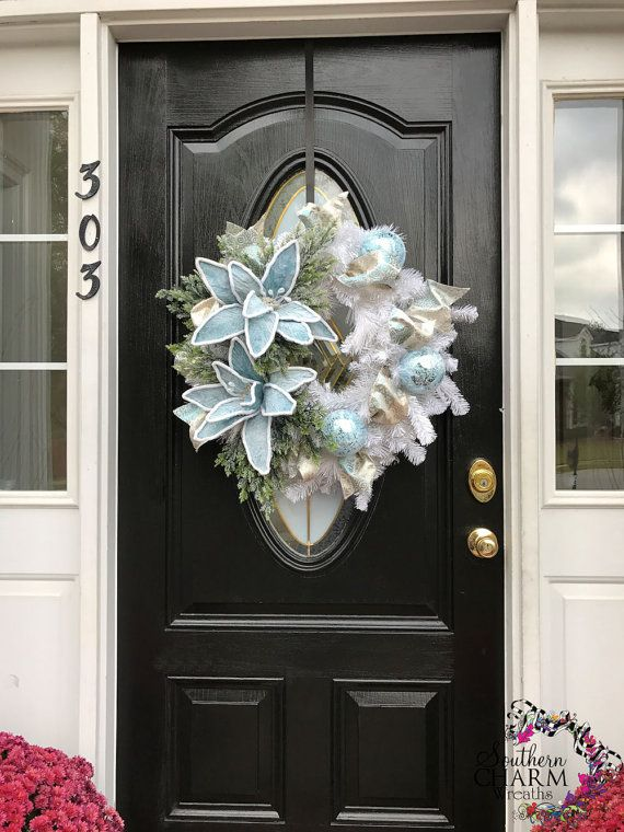 Frosty Blue Christmas Wreath by SouthernCharmWreaths