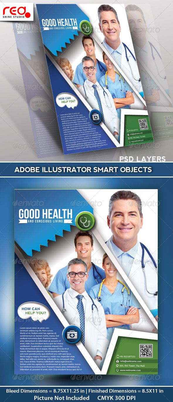 Poster design dimensions - Hospital Flyer Poster Magazine Template