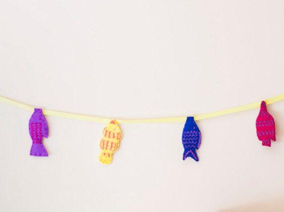 Felt Garland  Baby Nursery Decor  Fish Banner  Nursery