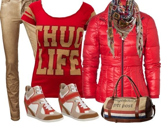 Beige & Rood - Sportieve Outfits - stylefruits.nl