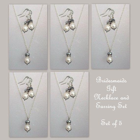 Set of 5 Bridesmaid Gift Set  Swarovski White by alexandreasjewels, $70.00