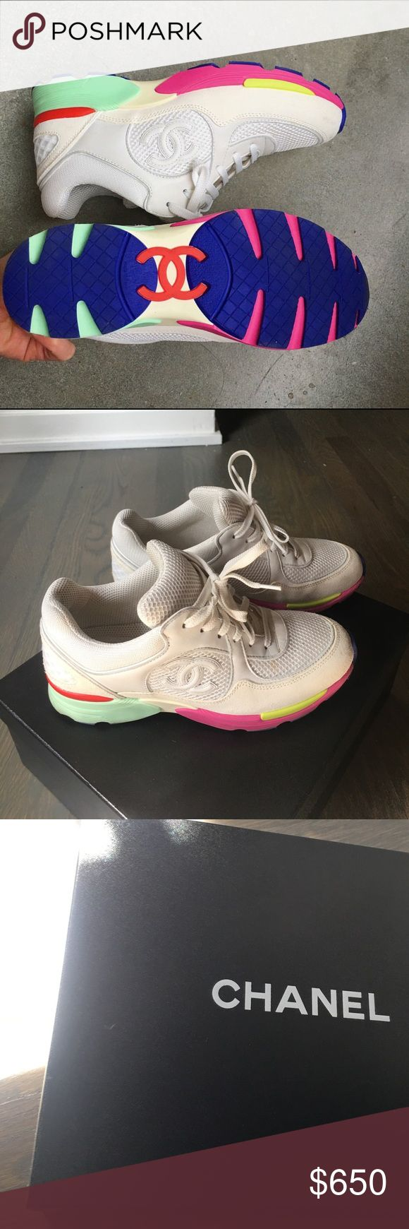 Colorful Chanel tennis shoes Neon sole colored Chanel sneakers with mesh and suede. Original box... only work probably 4 times total. CHANEL Shoes Sneakers