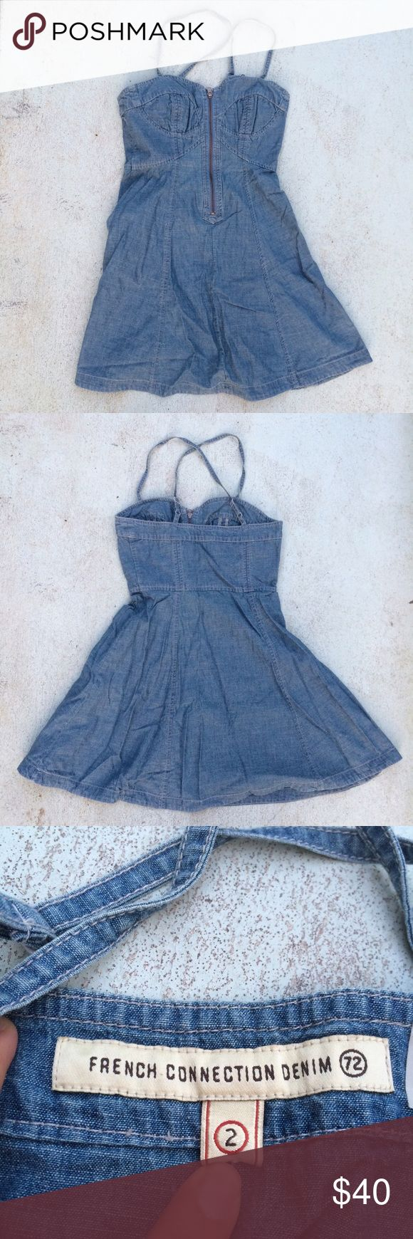 French Connection Denim Bustier Criss Cross  Dress Criss cross back and bustier bodice. Zipper front. Flared skirt. In excellent preowned  condition! French Connection Dresses Mini