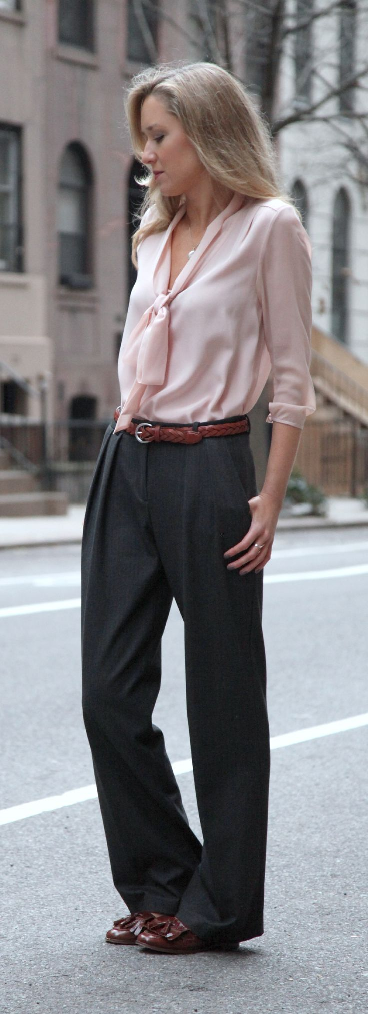 The Classy Cubicle: Wide Leg Trousers and Tie Neck Blouse