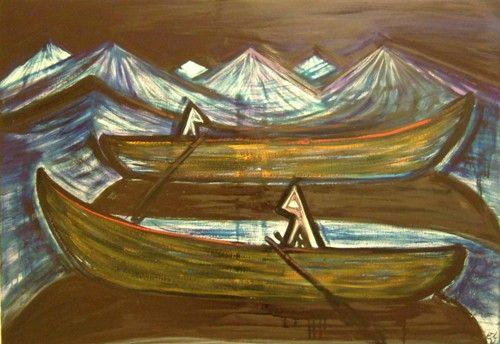 El Kazovszkij (1948-2008), Téli utazás Kicsiny Balázzsal II, 2006, olaj, vászon, 70 x 100 cm