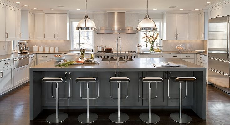 Kitchens by Deane - kitchens - Restoration Hardware Clemson Pendant, u shaped kitchen, two-tone kitchen, two-tone kitchen cabinets, two-tone...