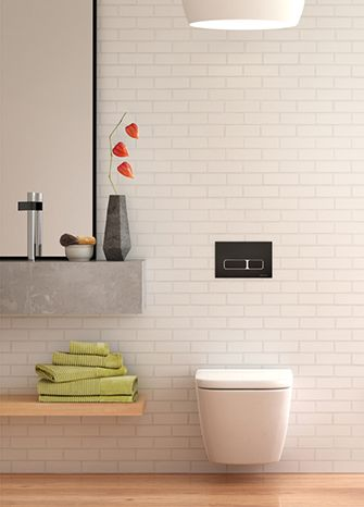Wall hung pans with inwall cisterns are great space savers, whilst giving you the freedom to create your perfect look by combining different buttons and pans.