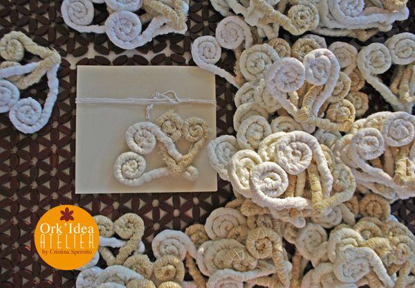 ORK'IDEA ATELIER: ECO-#MATRIMONIO: #PARTECIPAZIONI, BOMBONIERE E TABLEAU DE MARIAGE DI CUORI IN TESSUTO RICICLATO / Eco-wedding: announcements, party #favors and tableau de #mariage with recycled fabric hearts