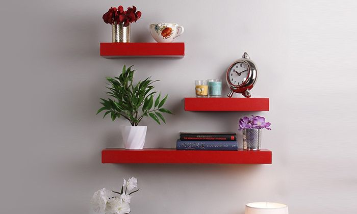 Floating Wall Shelf Set Of 3 In Red
