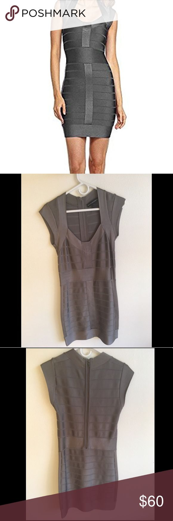 Gray Bandage Bodycon Cocktail Dress This dress is perfect for that special occasion or a night out with friends. It's fabric has a nice metallic type of reflectivness to add that extra pop to your outfit. This dress is lightly worn and in good condition. French Connection Dresses