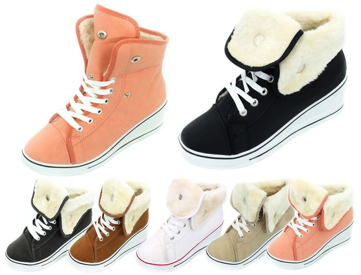 WOMENS FUR LINED WINTER WEDGE BOOTS LADIES HIGH TOP SHOES GIRLS PLIMSOLE TRAINER