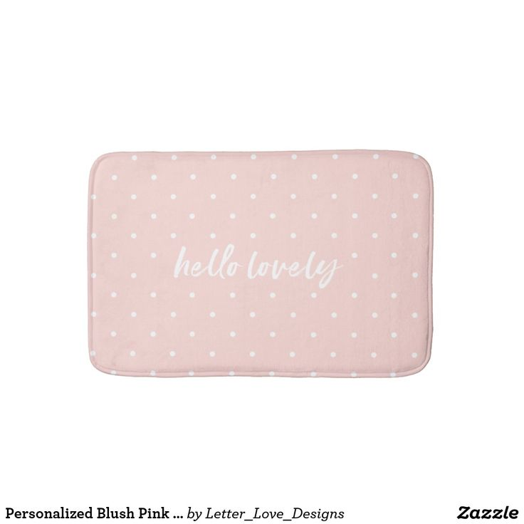 Personalized Blush Pink Bath Mat Small Polka Dots