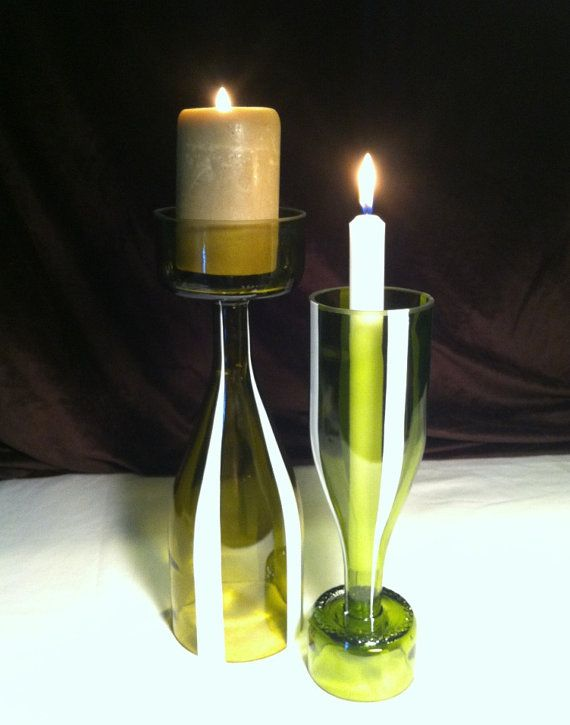 Bottle candle holders or vases. Upcycled wine bottles handpainted stripes on green and amber yellow glass Free shipping.