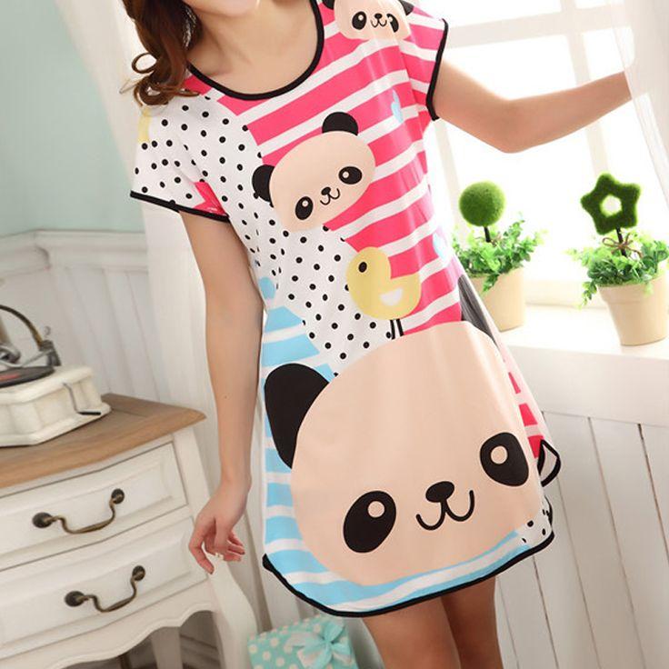 Women Cartoon Panda Rabbit Mini Dress Casual Loose Cotton Long Big Size T-shirt Nightgown Sleepwear Sleepshirts Sleep Tops Q3234