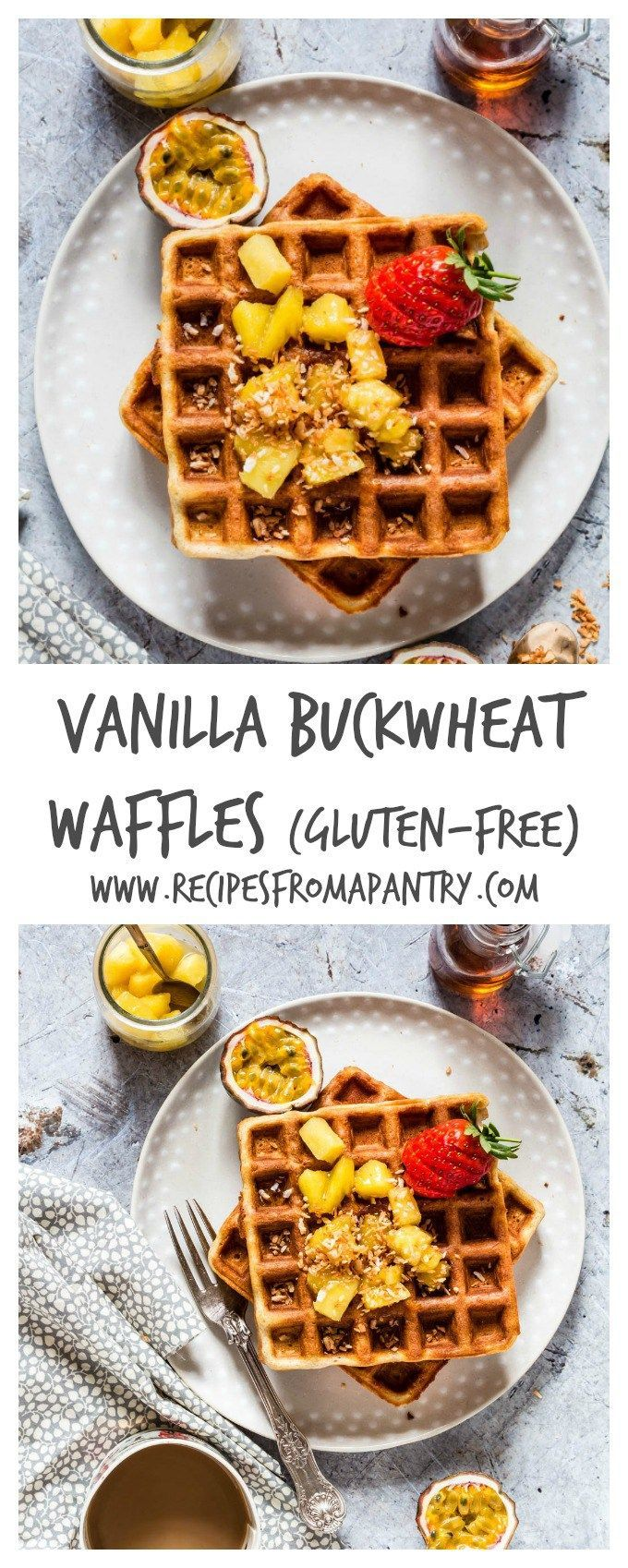 Gluten-free Vanilla Buckwheat Waffles - these awesome waffles are made with just 6 ingredients buckwheat flour, eggs, vanilla, butter, baking powder and milk. Plue the maple pineapple topping is really really good - recipesfromapantry.com {recipe, food, breakfast}